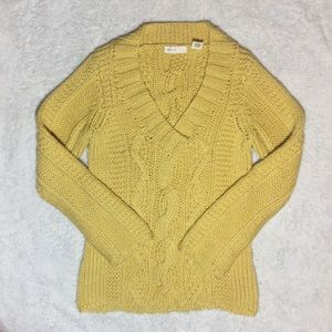 COPY - Anthropologie Yellow Cable Knit 100% Wool …